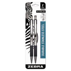 F-301 Retractable Ballpoint Pen, Black Ink, Fine, 2/Pack
