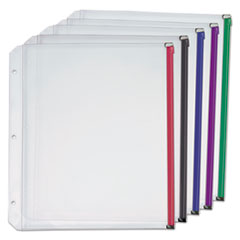 Expanding Zipper Binder Pocket, 11 x 8 1/2, Assorted Colors, 5/Pack