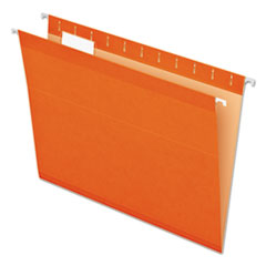 Colored Reinforced Hanging Folders, Letter Size, 1/5-Cut Tab, Orange, 25/Box