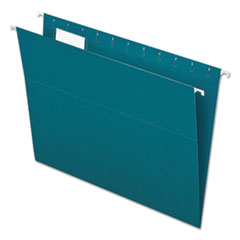 Colored Hanging Folders, 1/5 Tab, Letter, Teal, 25/Box