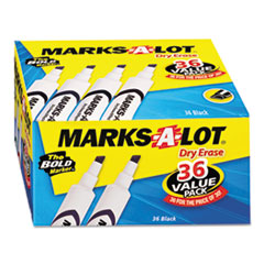 Marks-A-Lot Desk-Style Dry Erase Marker, Chisel Tip, Black, 36/Pack