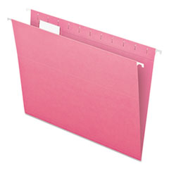 Colored Hanging Folders, 1/5 Tab, Letter, Pink, 25/Box