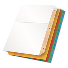 Poly Ring Binder Pockets, 11 x 8 1/2, Assorted Colors, 5/Pack