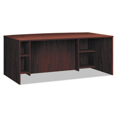 BL Laminate Series Breakfront Desk Shell Bow Front, 72w x 42d x 29h, Mahogany
