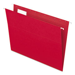 Colored Hanging Folders, 1/5 Tab, Letter, Red, 25/Box