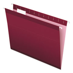 Colored Reinforced Hanging Folders, Letter Size, 1/5-Cut Tab, Burgundy, 25/Box