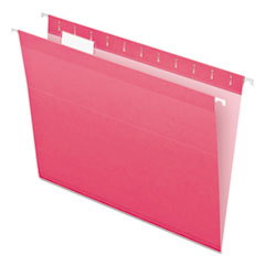 Colored Reinforced Hanging Folders, Letter Size, 1/5-Cut Tab, Pink, 25/Box