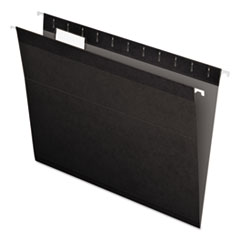 Colored Reinforced Hanging Folders, Letter Size, 1/5-Cut Tab, Black, 25/Box