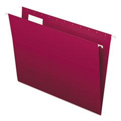 Colored Hanging Folders, 1/5 Tab, Letter, Burgundy, 25/Box