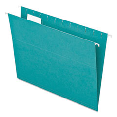 Colored Hanging Folders, 1/5 Tab, Letter, Aqua, 25/Box