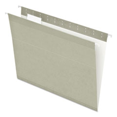 Colored Reinforced Hanging Folders, Letter Size, 1/5-Cut Tab, Gray, 25/Box