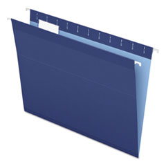 Colored Reinforced Hanging Folders, Letter Size, 1/5-Cut Tab, Navy, 25/Box