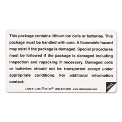 Lithium Battery Self-Adhesive Label, 4 1/4 x 4 1/2, CONTAINS BATTERIES, 500/Roll