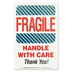 Shipping Self-Adhesive Label, 5 7/8 x 4 1/2, FRAGILE/HANDLE WITH CARE, 500/Roll