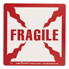 Shipping and Handling Self-Adhesive Label, 5 1/4 x 4 1/2, FRAGILE, 500/Roll