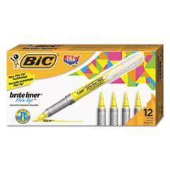 Brite Liner Flex Tip Highlighters, Brush Tip, Yellow, 1 dozen