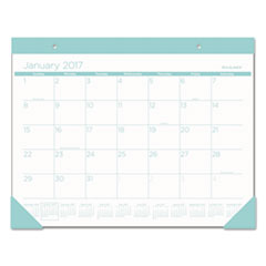 Color Play Desk Pad Calendar, 22 x 17, White/Teal, 2017