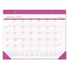 Color Play Desk Pad Calendar, 22 x 17, White/Purple, 2017