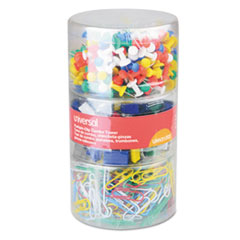 Combo Clip Pack, Assorted Binder Clips/Paper Clips/Push Pins
