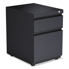 Two-Drawer Metal Pedestal File With Full Length Pull, 14 7/8w x 19 1/8d,Charcoal