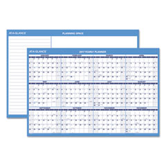 Horizontal Erasable Wall Planner, 36 x 24, Blue/White, 2017