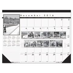 Recycled Black-and-White Photo Monthly Desk Pad Calendar, 18 1/2 x 13, 2016-2017