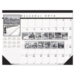 Recycled Black-and-White Photo Monthly Desk Pad Calendar, 22 x 17, 2017-2018