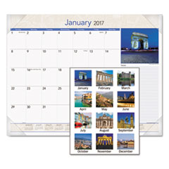 European Destinations Desk Pad Calendar, 22 x 17, 2017