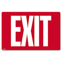 Glow-in-the-Dark Safety Sign, Exit, 12 x 8, Red COS098052