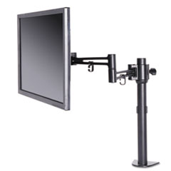 Pole-Mounted Articulating Monitor Arm, Single Monitor up to 30, Black