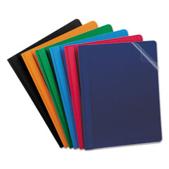 Clear Front Report Cover, 3 Fasteners, Letter, Assorted Colors, 25/Box