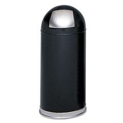 Dome Receptacle w/Spring-Loaded Door, Round, Steel, 15gal, Black
