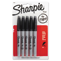 Fine Point Permanent Marker, Black, 5/Pack