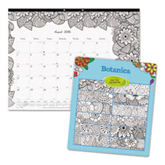 Academic DoodlePlan Desk Pad Calendar w/Coloring Pages, 22 x 17, 2016-2017