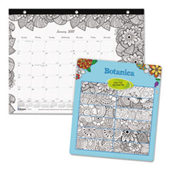 DoodlePlan Desk Pad Mini Calendar w/Coloring Pages, 11 x 8 1/2, 2017