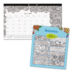 Academic DoodlePlan Desk Pad Calendar w/Coloring Pages,17 3/4 x 10 7/8,2016-2017