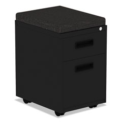 Two-Drawer Metal Pedestal File With Full-Length Pull, 14 7/8w x 19 1/8d, Black