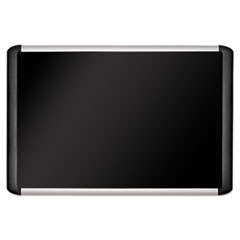 Black fabric bulletin board, 48 x 72, Silver/Black