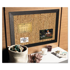 Natural Cork Bulletin Board, 36x24, Cork/Black