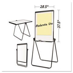Folds-to-a-Table Melamine Easel, 28 1/2 x 37 1/2, White, Steel/Laminate