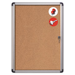 Slim-Line Enclosed Cork Bulletin Board, 28 x 38, Aluminum Case