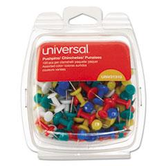 "Colored Push Pins, Plastic, Rainbow, 3/8"", 100/Pack"