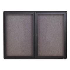 Enclosed Fabric-Cork Board, 48 x 36, Gray Surface, Graphite Aluminum Frame