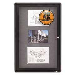 Enclosed Fabric-Cork Board, 24 x 36, Gray Surface, Graphite Aluminum Frame
