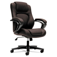 VL402 Series Executive High-Back Chair, Brown Vinyl