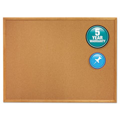 Classic Cork Bulletin Board, 24 x 18, Oak Finish Frame