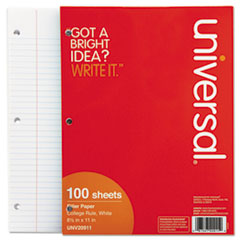 Filler Paper, 8 1/2 x 11, College Rule, White, 100 Sheets/Pack