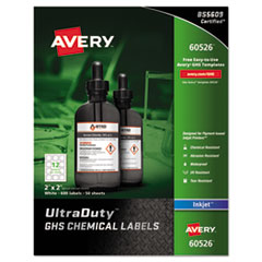 Easy Peel UltraDuty GHS Chemical Labels, Inkjet, 2 x 2 , 600/Pack