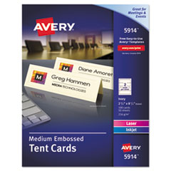 Medium Embossed Tent Cards, Ivory, 2 1/2 x 8 1/2, 2 Cards/Sheet, 100/Box