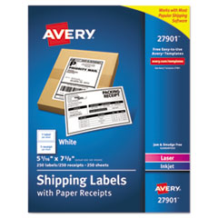 Shipping Labels with Paper Receipt Bulk Pack, 5 1/16 x 7 5/8 , White, 250/Box